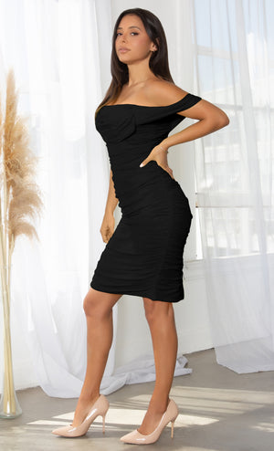 Queen Of Hearts Black Short Sleeve Off The Shoulder Draped Ruched Bodycon Midi Dress