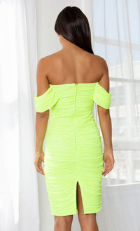 Queen Of Hearts Neon Green Short Sleeve Off The Shoulder Draped Ruched Bodycon Midi Dress