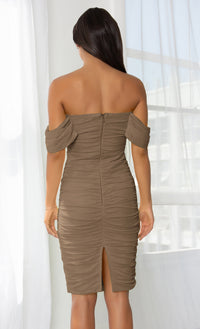 Queen Of Hearts Beige Short Sleeve Off The Shoulder Draped Ruched Bodycon Midi Dress