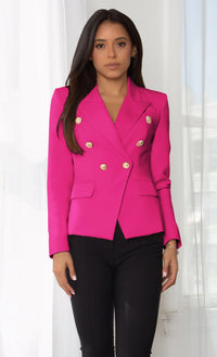 Ready To Work Burgundy Long Sleeve Peaked Lapels Double Breasted Gold Button Blazer Jacket Outerwear