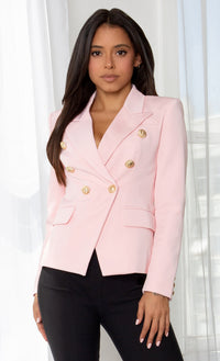 Ready To Work Evergreen Long Sleeve Peaked Lapels Double Breasted Gold Button Blazer Jacket Outerwear