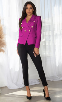Ready To Work Magenta Long Sleeve Peaked Lapels Double Breasted Gold Button Blazer Jacket Outerwear