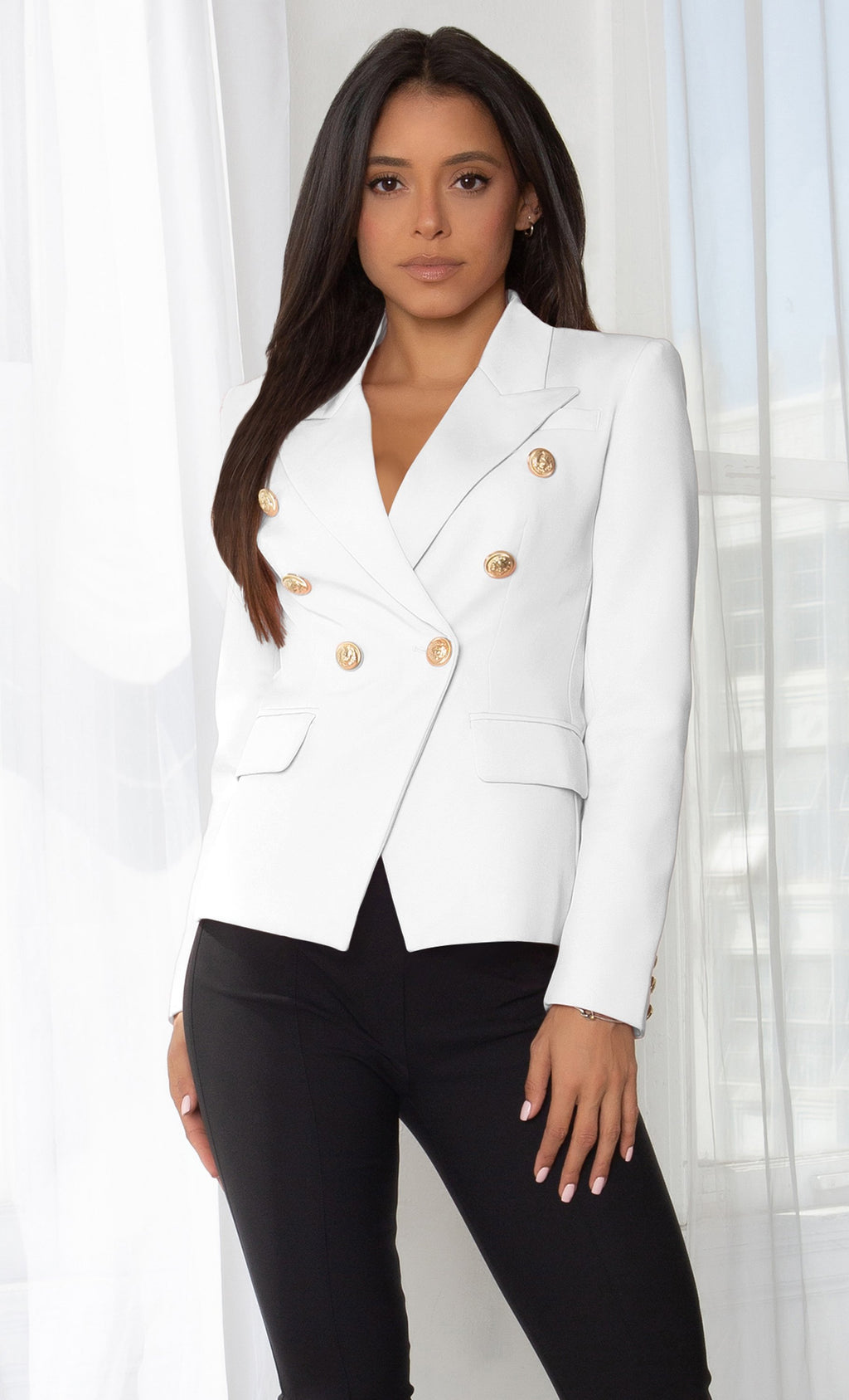 Ready To Work White Long Sleeve Peaked Lapels Double Breasted Gold Button Blazer Jacket Outerwear