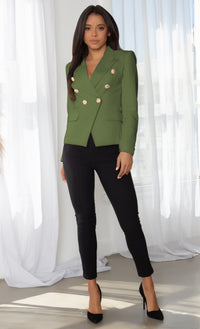 Ready To Work Olive Green Long Sleeve Peaked Lapels Double Breasted Gold Button Blazer Jacket Outerwear