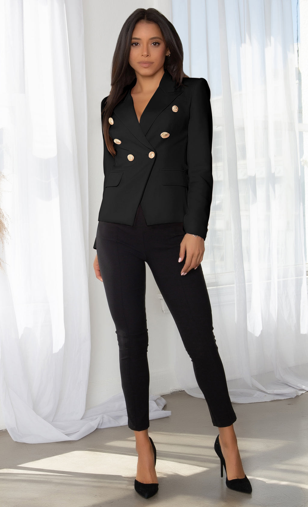 Ready To Work Black Long Sleeve Peaked Lapels Double Breasted Gold Button Blazer Jacket Outerwear