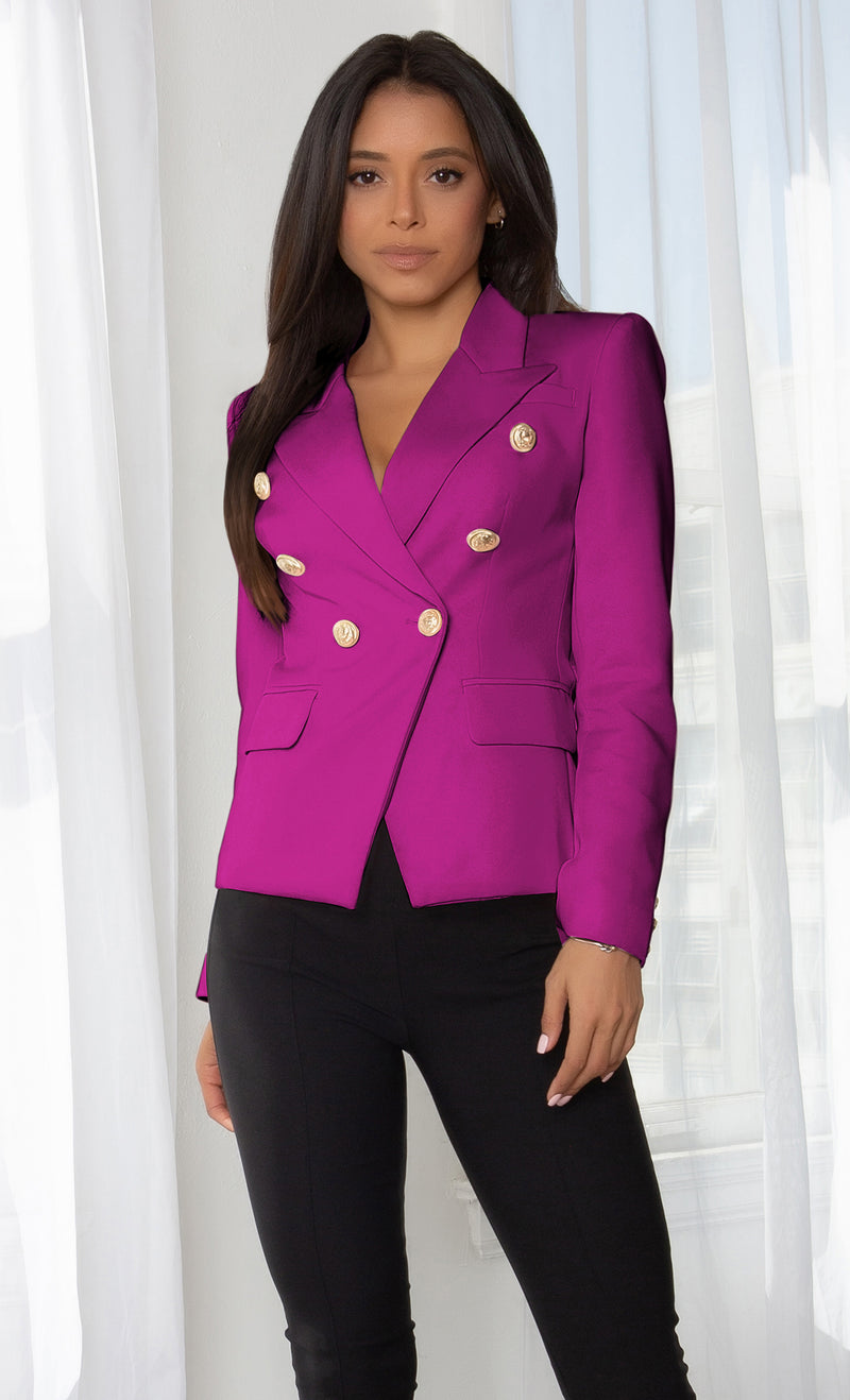 Ready To Work Light Pink Long Sleeve Peaked Lapels Double Breasted Gold Button Blazer Jacket Outerwear