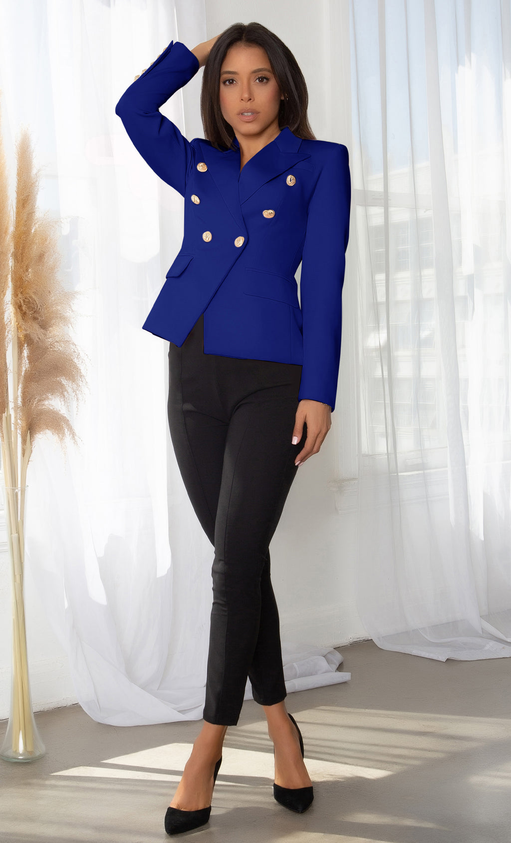 Ready To Work Royal Blue Long Sleeve Peaked Lapels Double Breasted Gold Button Blazer Jacket Outerwear