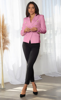 Ready To Work Hot Pink Long Sleeve Peaked Lapels Double Breasted Gold Button Blazer Jacket Outerwear