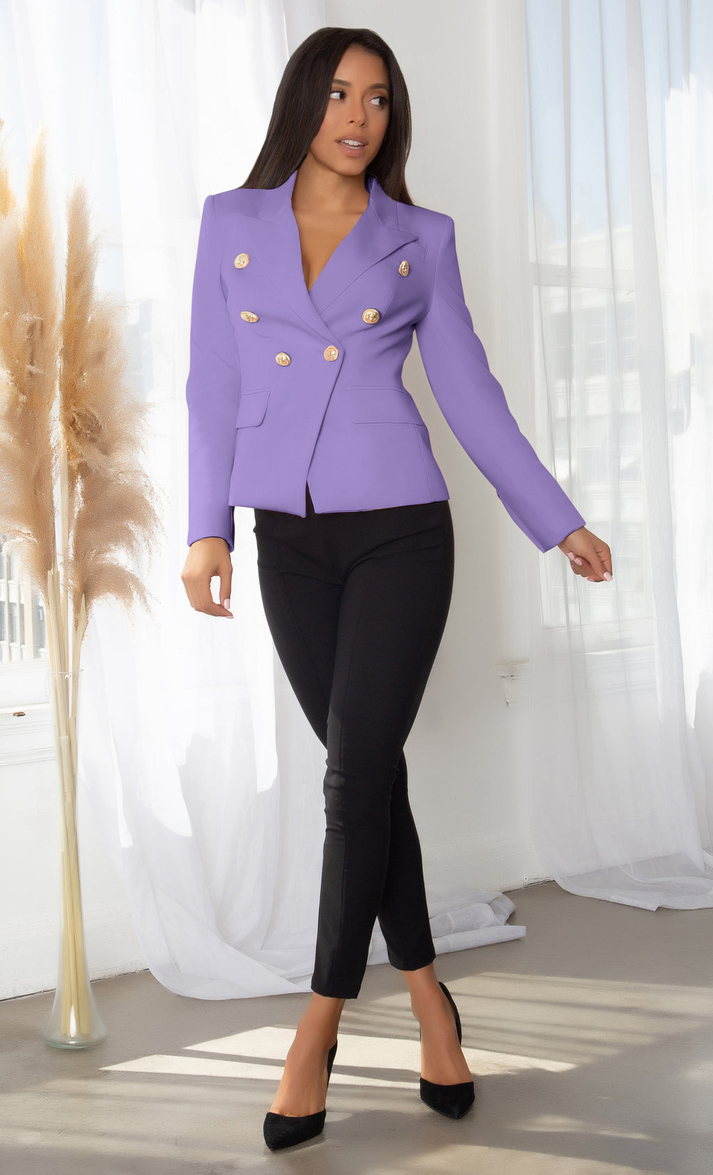 Ready To Work Lavender Long Sleeve Peaked Lapels Double Breasted Gold Button Blazer Jacket Outerwear