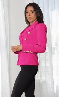 Ready To Work Candy Pink Long Sleeve Peaked Lapels Double Breasted Gold Button Blazer Jacket Outerwear
