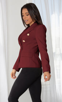 Ready To Work Navy Blue Long Sleeve Peaked Lapels Double Breasted Gold Button Blazer Jacket Outerwear