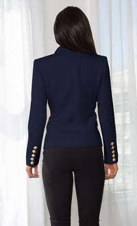 Ready To Work Red Long Sleeve Peaked Lapels Double Breasted Gold Button Blazer Jacket Outerwear