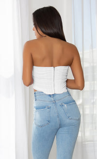 Pour The Wine White Sheer Mesh Draped Strapless Pointy Bustier Corset Crop Top