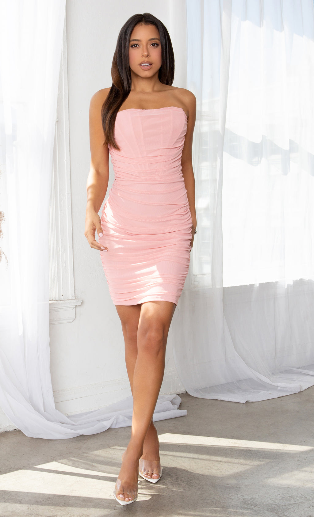 Night Prowl Apricot Pink Sheer Mesh Strapless Scoop Neck Ruched Bodycon Mini Dress