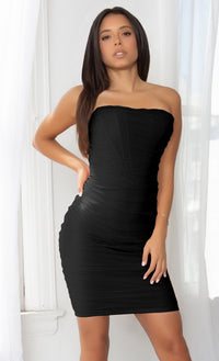 Night Prowl Black Sheer Mesh Strapless Scoop Neck Ruched Bodycon Mini Dress