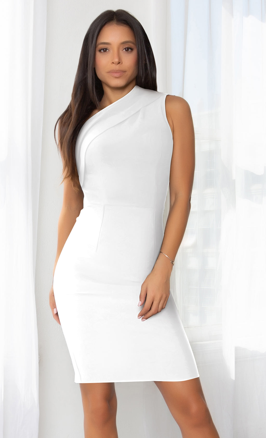Living Large White Ruched One Shoulder Stretchy Bandage Midi Sleeveless Dress
