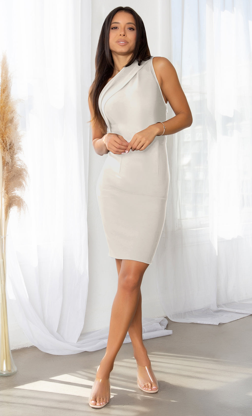 Living Large Apricot Ruched One Shoulder Stretchy Bandage Midi Sleeveless Dress