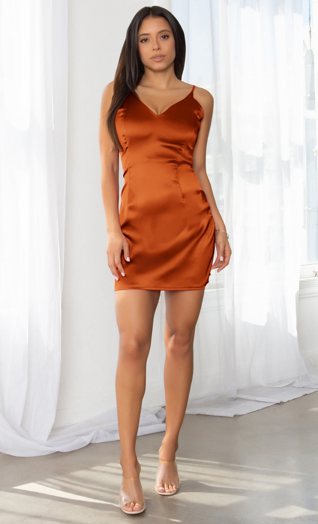 Call Things Burnt Orange Off Sleeveless Spaghetti Satin Strap V Neck Flare Mini Dress - Inspired by Selena Gomez