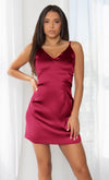 Call Things Pink Off Sleeveless Spaghetti Satin Strap V Neck Flare Mini Dress - Inspired by Selena Gomez