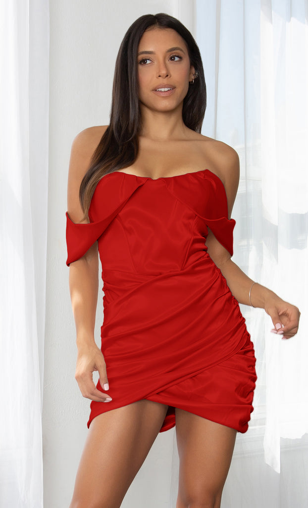 Sweet Temptations Red Off the Shoulder Strapless Short Sleeve Satin Draped Ruched Body Con Tulip Hem Mini Dress