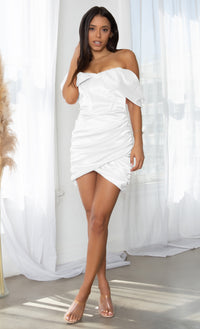 Sweet Temptations Black Off the Shoulder Strapless Short Sleeve Satin Draped Ruched Body Con Tulip Hem Mini Dress
