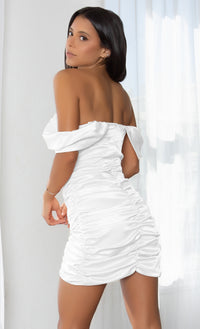 Sweet Temptations White Off the Shoulder Strapless Short Sleeve Satin Draped Ruched Body Con Tulip Hem Mini Dress