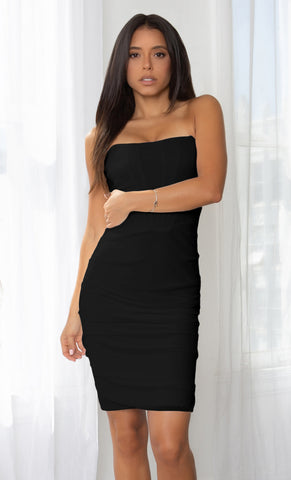 Call Things Black Off Sleeveless Spaghetti Satin Strap V Neck Flare Mini Dress - Inspired by Selena Gomez