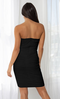 Night Prowl Black Bandage Version Sheer Mesh Strapless Scoop Neck Ruched Bodycon Mini Dress