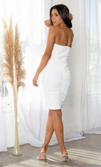 Night Prowl White Bandage Version Sheer Mesh Strapless Scoop Neck Ruched Bodycon Mini Dress