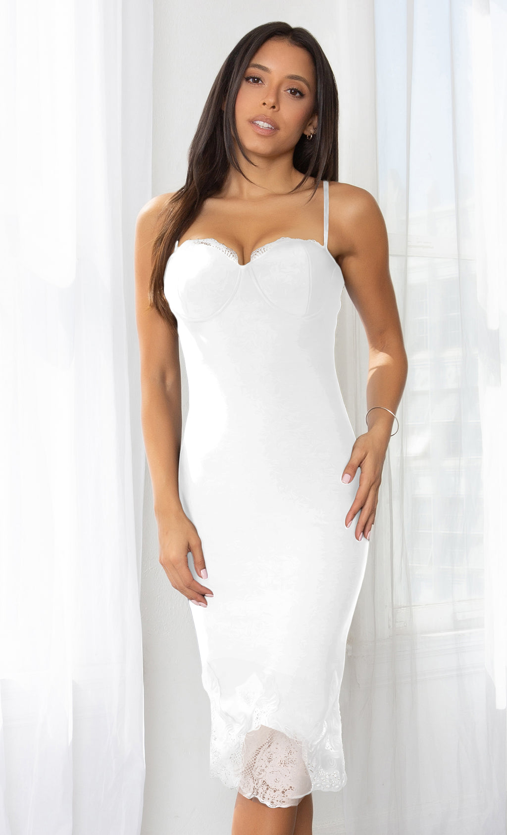 Touch Of Class White Sleeveless Spaghetti Strap Sweetheart Neck Lace Trim Bodycon Bandage Midi Dress