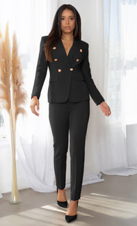 Get The Job Done Pink Double Breasted Gold Button Long Sleeve V Neck Blazer Jacket Skinny Pant Two Piece Jumpsuit Set