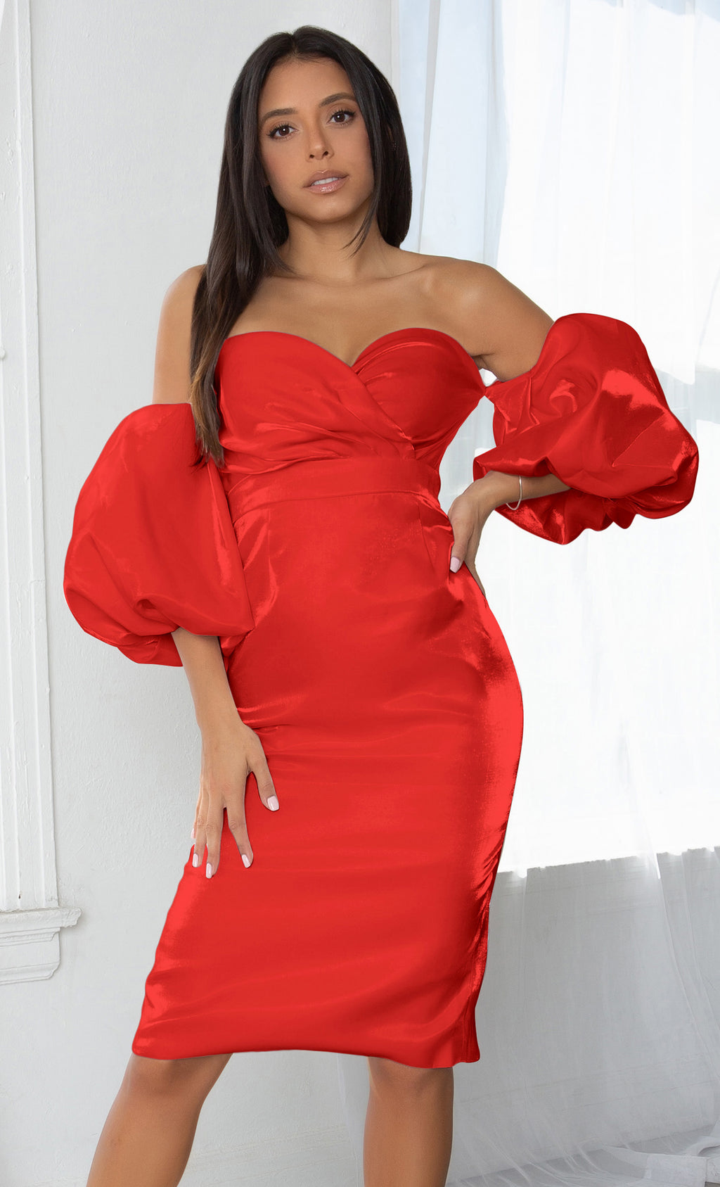 Hello My Love Red Shiny Short Puff Sleeve Off The Shoulder Taffeta Strapless Sweetheart Neck Bodycon Bandage Midi Dress