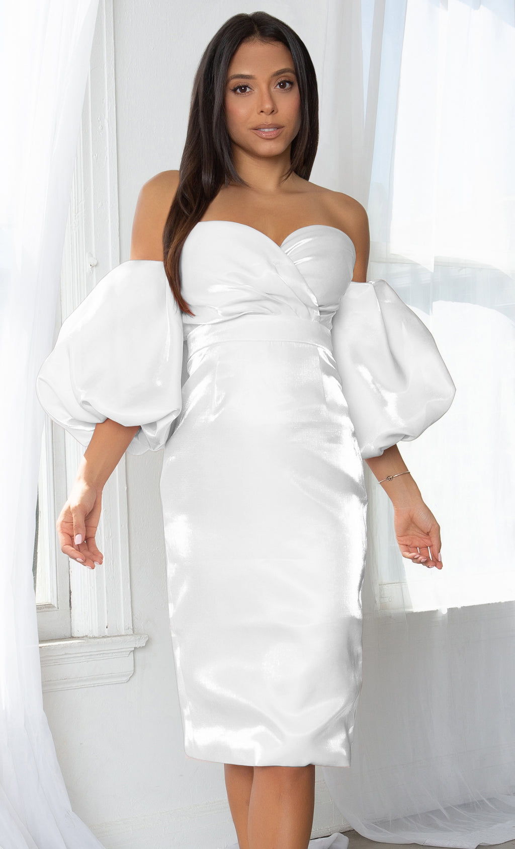 Hello My Love White Shiny Short Puff Sleeve Off The Shoulder Taffeta Strapless Sweetheart Neck Bodycon Midi Dress