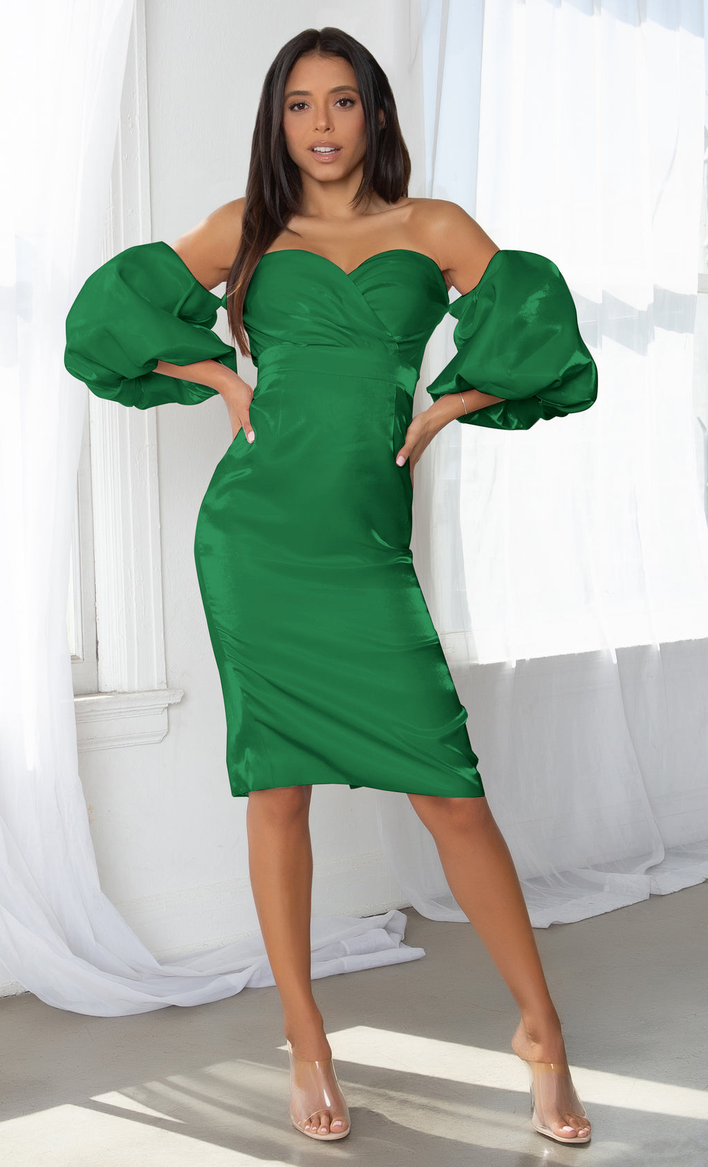 Hello My Love Green Shiny Short Puff Sleeve Off The Shoulder Taffeta Strapless Sweetheart Neck Bodycon Midi Dress