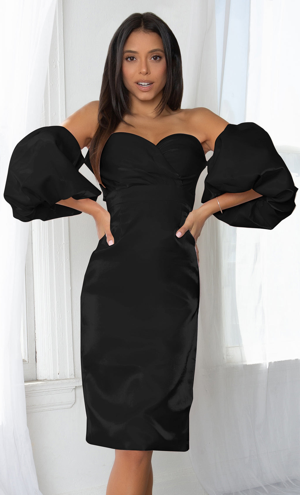Hello My Love Black Shiny Short Puff Sleeve Off The Shoulder Taffeta Strapless Sweetheart Neck Bodycon Midi Dress