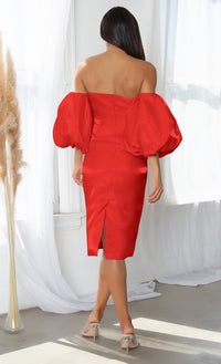 Hello My Love Red Shiny Short Puff Sleeve Off The Shoulder Taffeta Strapless Sweetheart Neck Bodycon Midi Dress
