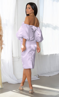 Hello My Love Lavender Shiny Short Puff Sleeve Off The Shoulder Taffeta Strapless Sweetheart Neck Bodycon Midi Dress