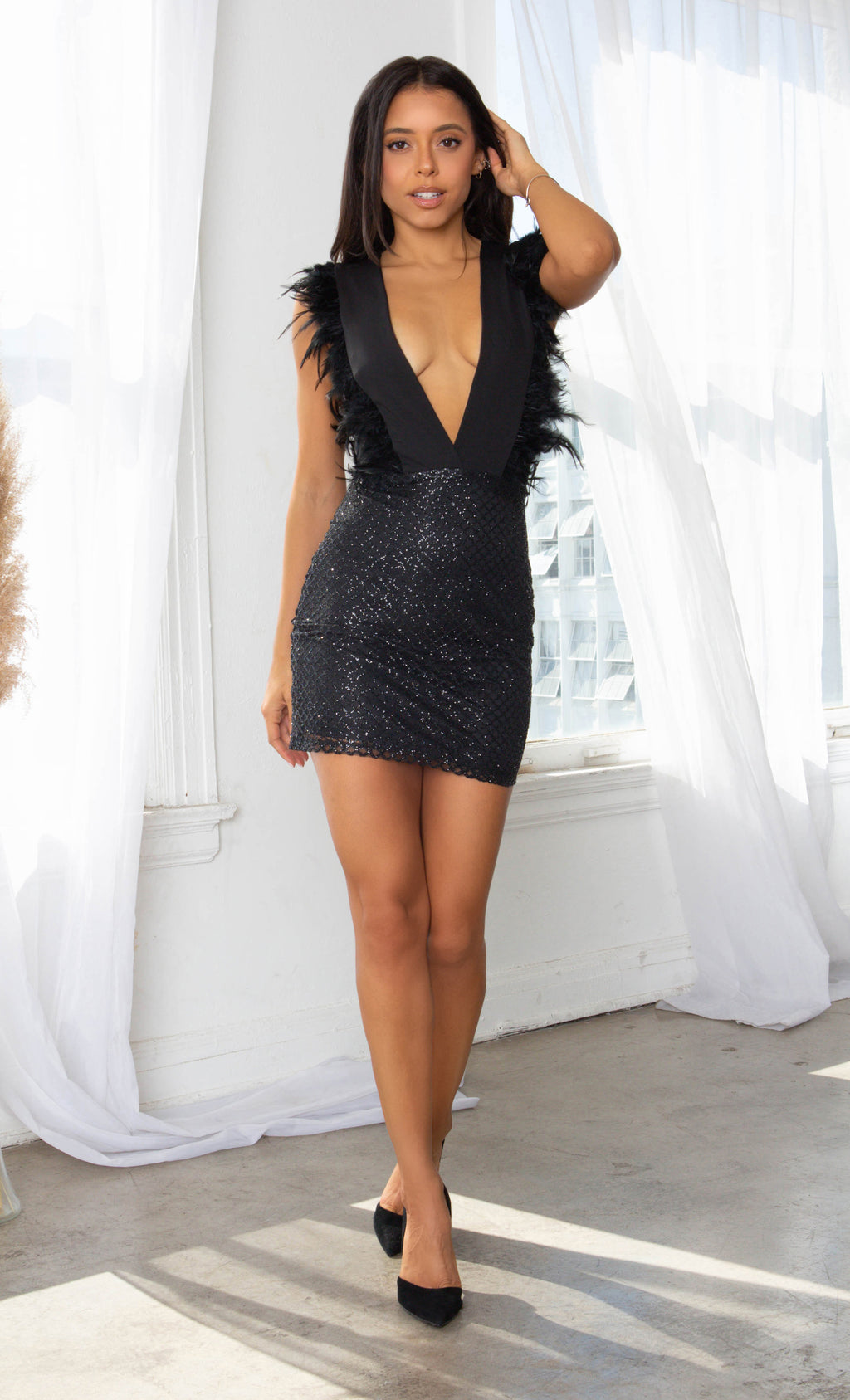I Shine Brighter Black Sleeveless Feather Plunge V Neck Sequin Diamond Geometric Pattern Bodycon Mini Skirt - 2 Colors Available