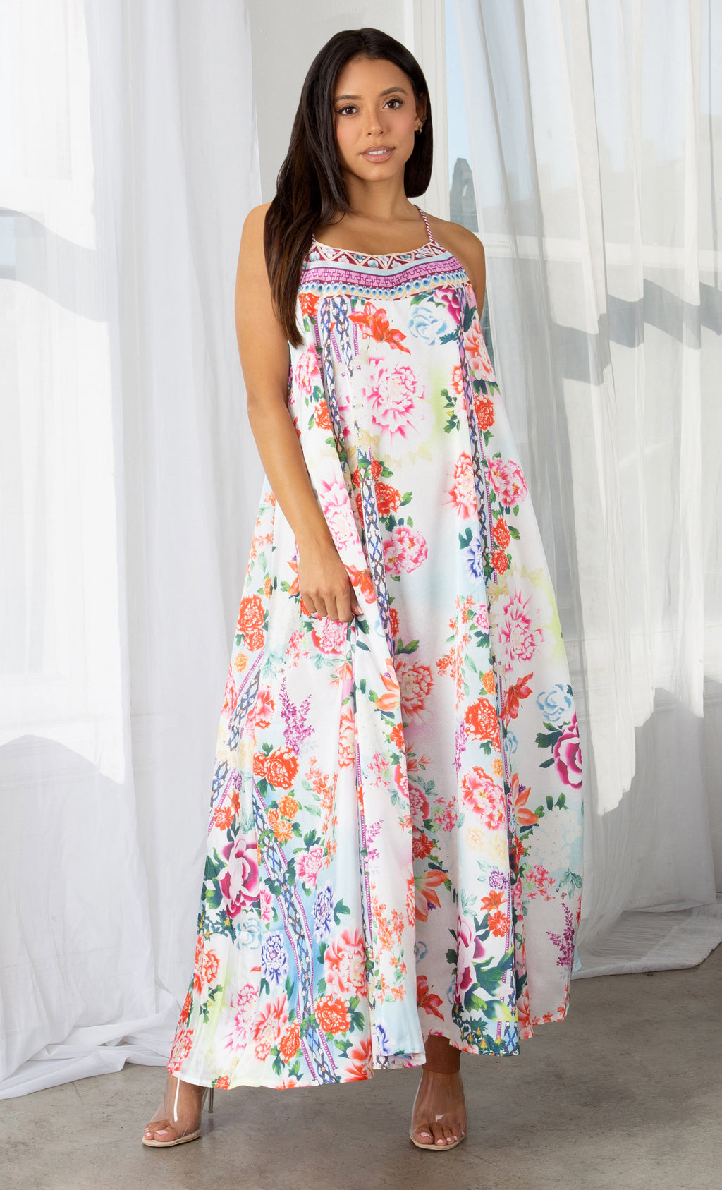 How Sweet It Is Multicolor Floral Pattern Sleeveless Spaghetti Strap Square Neck Casual Maxi Dress