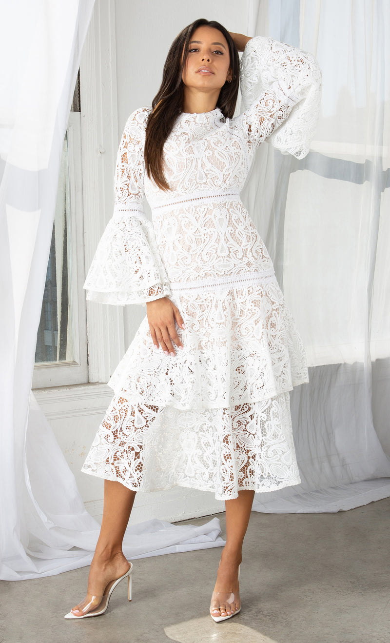 Attention To Detail White Long Flare Bell Sleeve Guipuire Lace Crochet Tiered Lace Ruffle Crew Neck Casual A Line Midi Dress