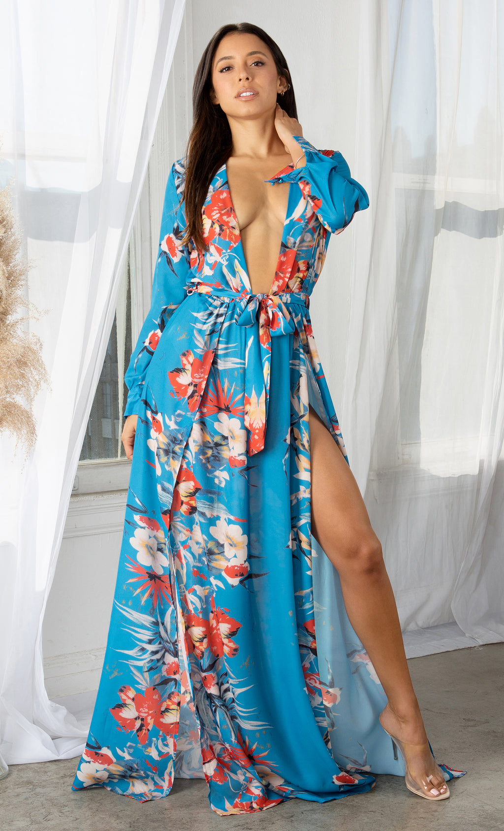 Welcome to Miami Blue Blue Red Pink Green Beige White Floral Long Sleeve Plunge V Neck High Slit Maxi Dress