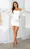 Forbidden Dreams White Satin Off the Shoulder Long Sheer Puff Sleeve Square Neck Sequin Bodycon Mini Dress