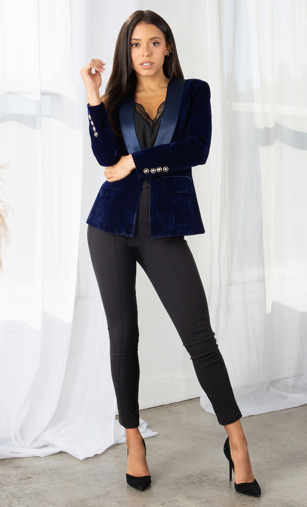 I Got Clout Navy Blue Velvet Tuxedo Satin Long Sleeve V Neck Button Blazer Jacket Outerwear