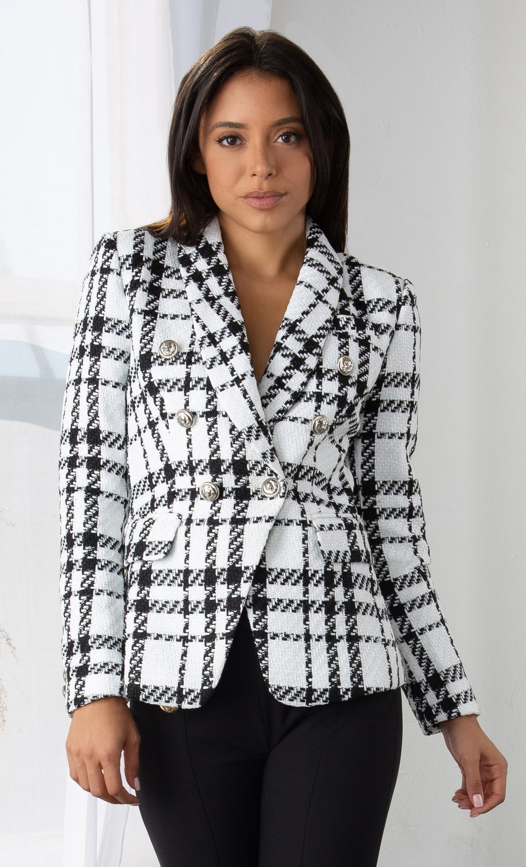 Atelier Attitude Black White Plaid Tweed Pattern Long Sleeve Gold Button Woolen Double Breast Blazer Jacket Outerwear