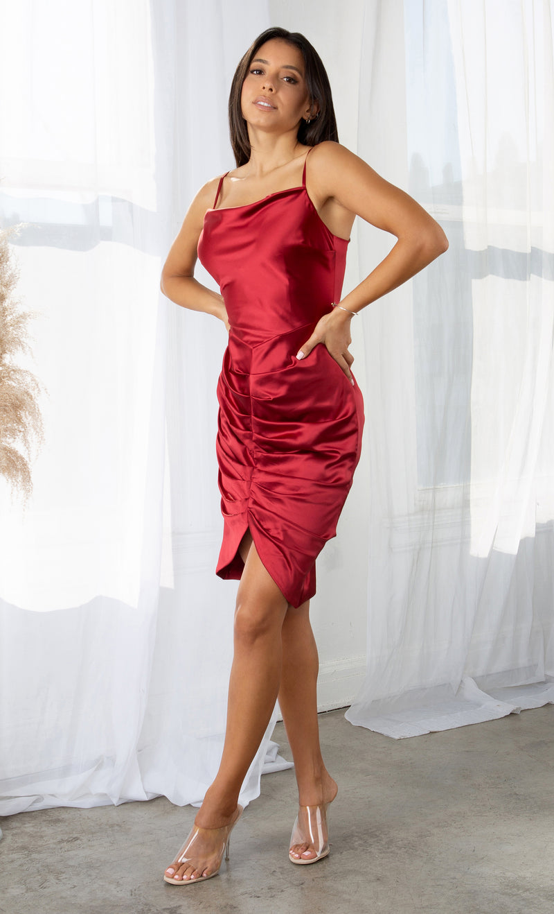 Impossible To Forget Wine Red Satin Shiny Sleeveless Spaghetti Open Back Strap Square Neck Ruched Bodycon Midi Dress