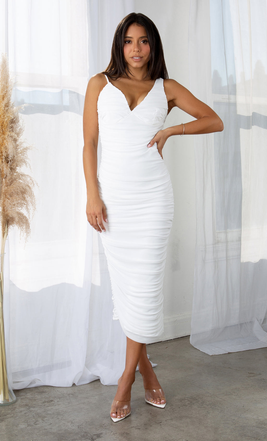 Watch The Sunset White Mesh Sleeveless Spaghetti Strap V Neck Ruched Bodycon Bandage Asymmetric Hem Midi Dress