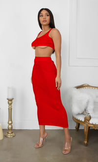 Playing With Fire White Under Boob Sleeveless Scoop Neck Crop Top Two Piece Bodycon Casual Maxi Dress
