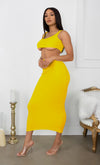 Playing With Fire Yellow Under Boob Sleeveless Scoop Neck Crop Top Two Piece Bodycon Casual Maxi Dress