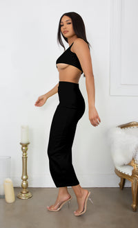 Playing With Fire Black Under Boob Sleeveless Scoop Neck Crop Top Two Piece Bodycon Casual Maxi Dress
