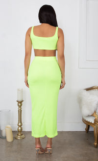 Playing With Fire Neon Green Under Boob Sleeveless Scoop Neck Crop Top Two Piece Bodycon Casual Maxi Dress